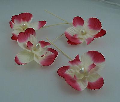 4 Orchidées Sur Tige Rose, 5 X 4 Cm. Hobi. Décoration De Mariage