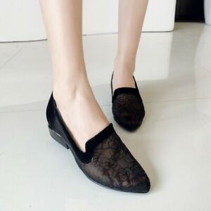 Women Summer Low Heel Cut-out Embroidered Pointed Toe Casual Sweet Slip On Flats