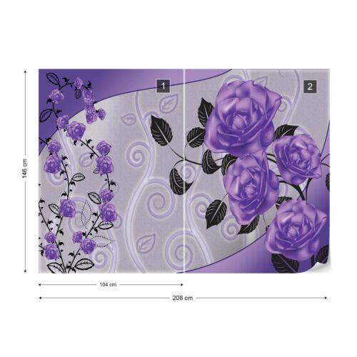 Violet Roses Motif Floral Photo Papier Peint Mural Toison facile installer papier