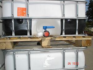 1000 l wassertank ibc container regentonne wei e blase auf holzpalette ebay. Black Bedroom Furniture Sets. Home Design Ideas