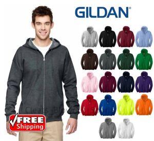 Gildan-Zip-Up-HOODIE-Blend-Full-Hooded-POCKET-Sweatshirt-NEW-Soft-Mens-18600