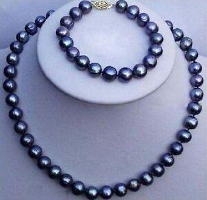 Set-of-9-10mm-Natural-Tahitian-Black-Pearl-Necklace-18-034-Bracelet-7-5-8-034-14K-Gold