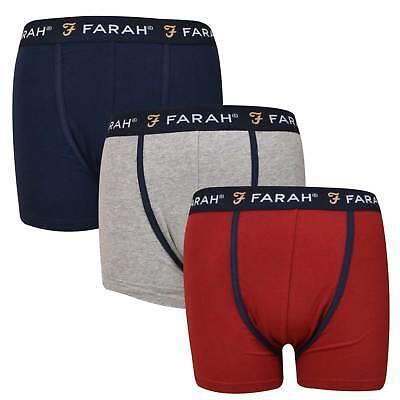 Mens Boxers 3pk Plain Trunks Farah Cotton Rich Premium Quality Underwear Shorts äSthetisches Aussehen