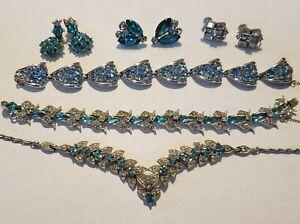 Vintage Signed Bogoff Lot Necklace,bracelets Earrings rhodium plated. Aqua,clear