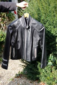 L Cuir Femmes Genuine En Veste Noire Taille Leather Xq1w5A