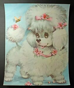 Vintage dog print kitsch puppy coby childrens room decor Vintage childrens room decor