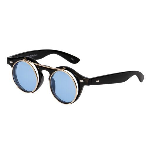 BLACK + Aqua Flip Up bicchieri da Cerchio Steampunk Occhiali Cyber Occhiali Da Sole Retrò UK