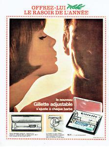Publicite-Advertising-108-1963-rasoir-ajustable-Gillette-extra-bleue