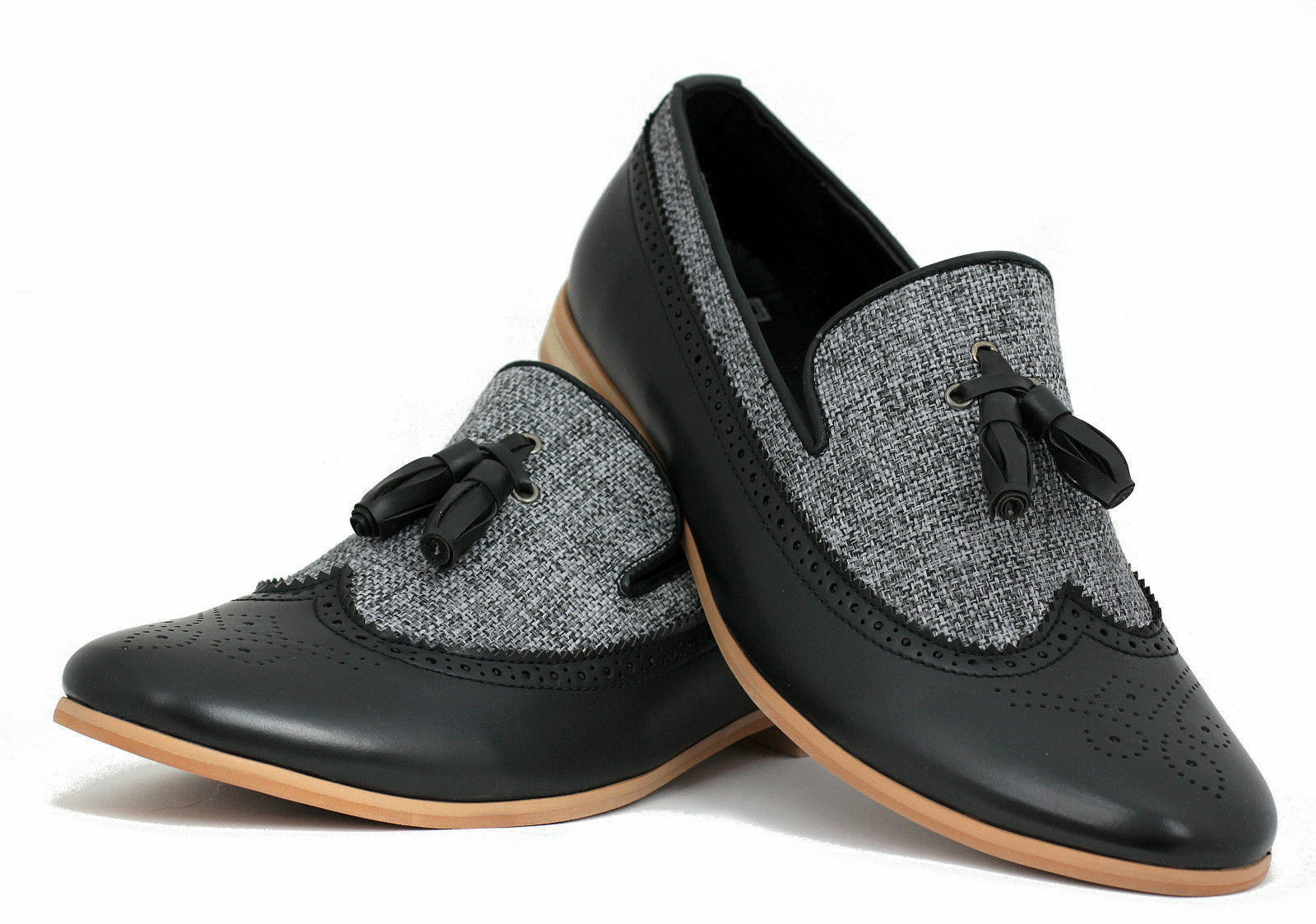 Men Handmade Formal Two Tone Leather And Fabric Oxford Brogue Wingtip Slip Ons