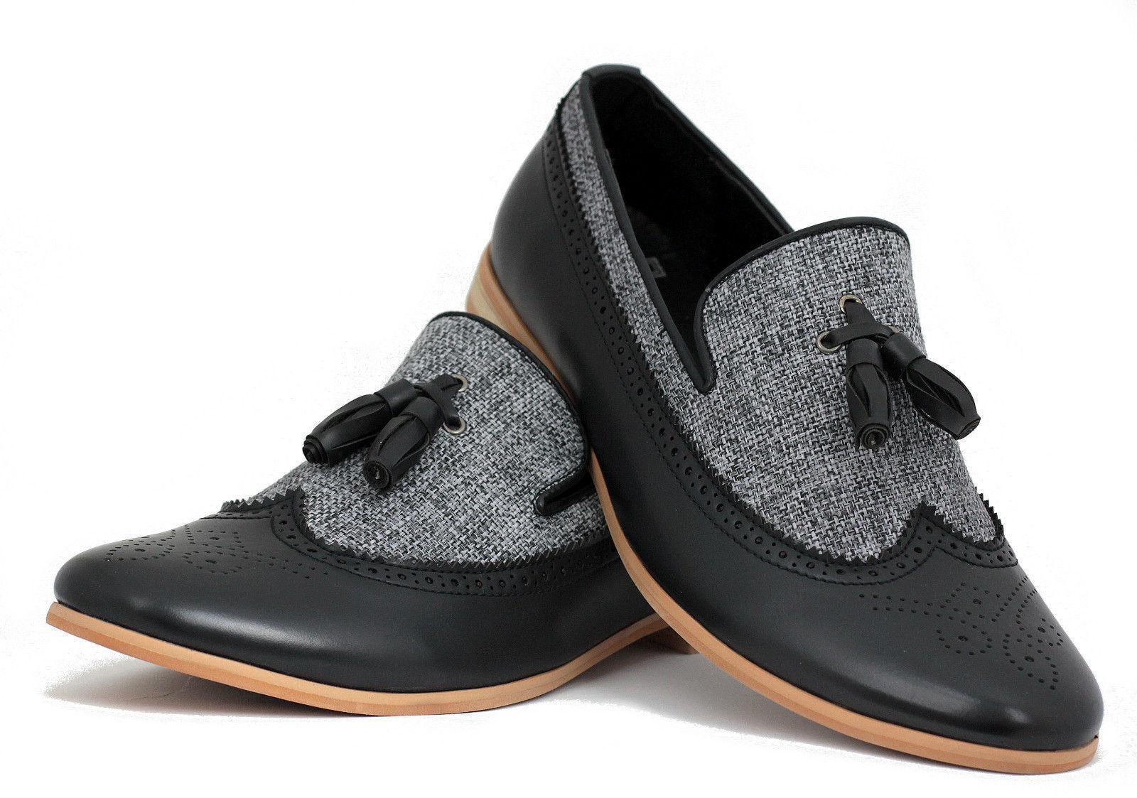 De hombre hecho a mano formal dos tonos de cuero y tela Oxford Brogue punta del ala Slip Ons