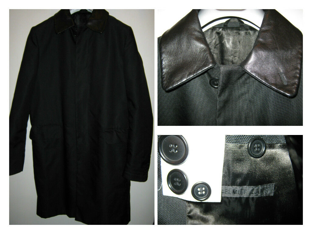 HELMUT LANG OVERCOAT COLLO STACCABILE 100% PELLE SIZE 48
