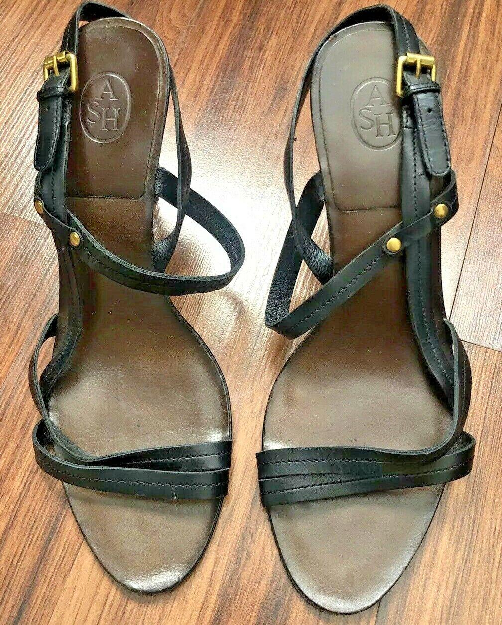 ASH Leather Sole Women Heels Black Size 39 (8.5)