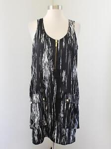 Michael Kors Black White Abstract Print Sleeveless Shift Dress Size M Zipper