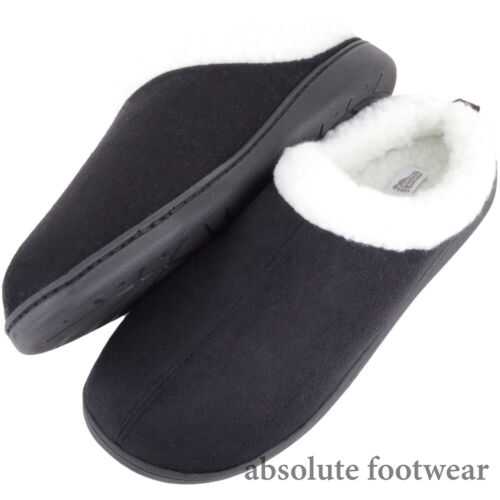 Absolute Footwear Mens Gents Slip On Winter Cold Mule Slippers with Cuff