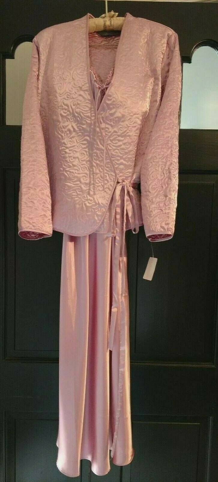 NWT Jasmine pink Signature Luxury Charmeuse Pink Gown L; Quilted Robe M Set  84+