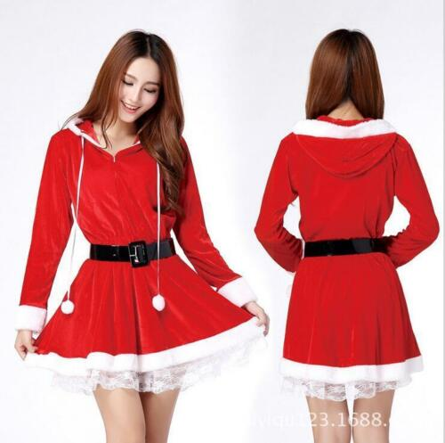 New Women Santa Claus Holiday Costume Cosplay Girls Xmas Outfit Fancy Party