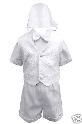 New Infant Boy & Toddler Christening Baptism Formal Vest Shorts Suit White 0-4t