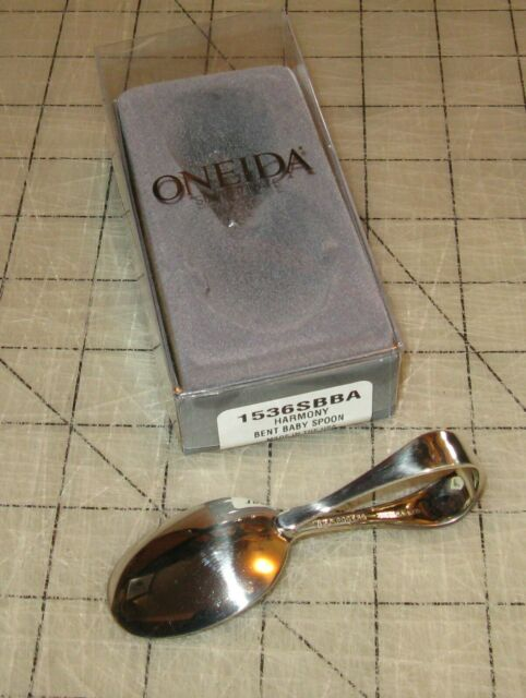 NEW Vintage Oneida INFANT Feeding SPOON Chalice-Harmony 1958 Silverplate Original pink blue gift box Long handled baby spoon Still wrapped