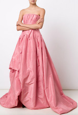 OSCAR DE LA RENTA  Draped Strapless Silk Ball Gown Dark Pink sz 6  puffy