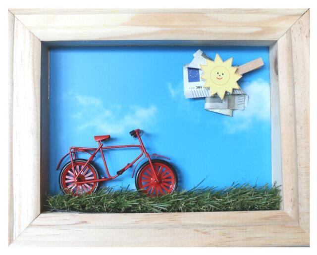 Dekofigur Geldgeschenk Fertig Set Hobbyfun Im Rahmen Fahrrad Sport