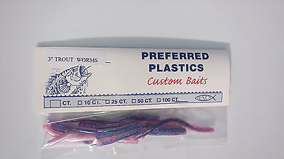 "PREFERRED PLASTICS CUSTOM BAITS YELLOW 3/""  HAND POURED WORM TROUT WORMS"