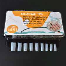 500Pcs/set False French Acrylic Gel Nail Art Edge Tips Natural Manicure Kit