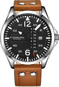 Stuhrling-Men-039-s-Steel-Riveted-Tan-Leather-Strap-Japan-Quartz-Aviation-Watch