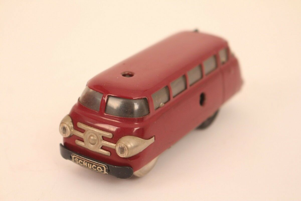 Schuco Varianto Bus 3044 Tin Car Dark Red Wine Red Remote Control Tin Toy