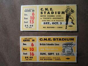 2-x-Vintage-CFL-Ticket-Stubs-Toronto-Argonauts-vs-BC-Lions-10-3-64-amp-9-25-66