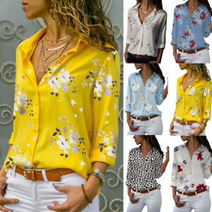 Women-Long-Sleeve-Button-Down-Shirt-OL-Floral-Loose-Lapel-Blouse-Casual-Tee-Tops