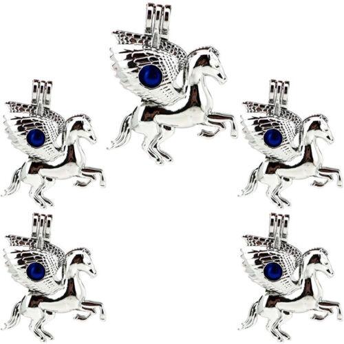 5X-K843 Sliver Color Horse Pearl Cage Charm Wing Unicorn Diffuser Pendant