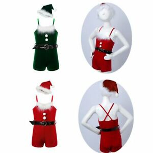 US Girls Christmas Santa Claus Dress Kid Xmas Cosplay Outfit Fancy Party Costume
