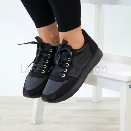 New Womens Lace Up Trainers Flat Gym Running Comfy Ladies Shoes Sizes 3-8