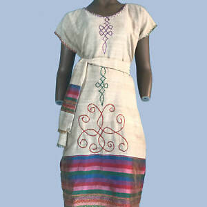 Details about Ethiopian, Eritrean Traditional Dress, Handmade, 100% cotton,  embroidered