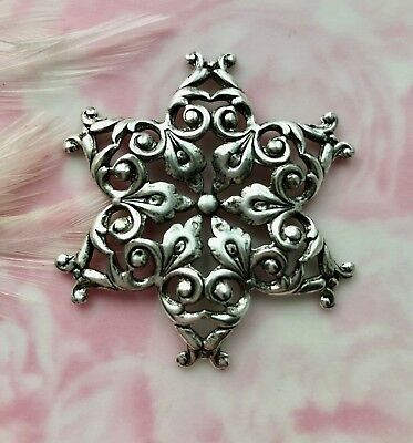 FB-6064 Dapt ANTIQUE BRASS French Ornament Panache Filigree Stamping Oxidized