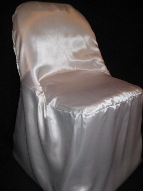 100 SATIN WEDDING FOLDING CHAIR COVERS White Ivory Black