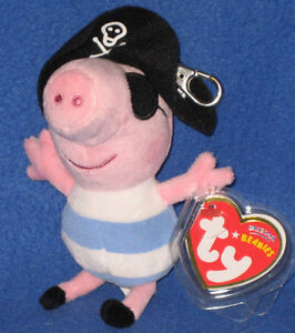 TY PIRATE GEORGE BEANIE BABY KEY CLIP - UK EXCLUSIVE (PEPPA PIG) - MINT TAGS