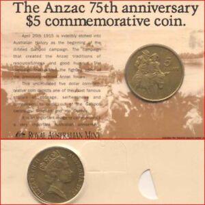 Australian-Mint-1990-5-Coin-ANZAC-75th-Anniversary-Commemorative-Issue-Card
