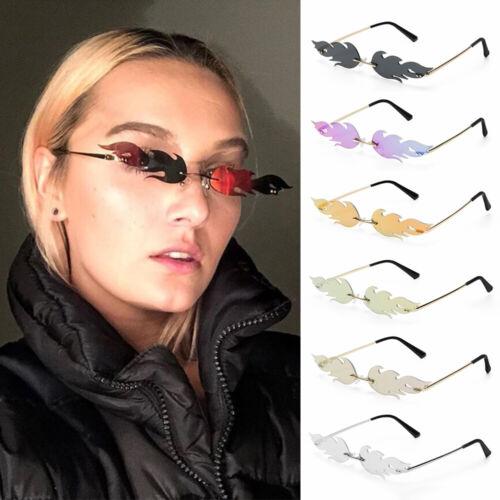 New Fashion Fire Flame Sunglasses Women Rimless Wave Glasses Narrow Eyewear
