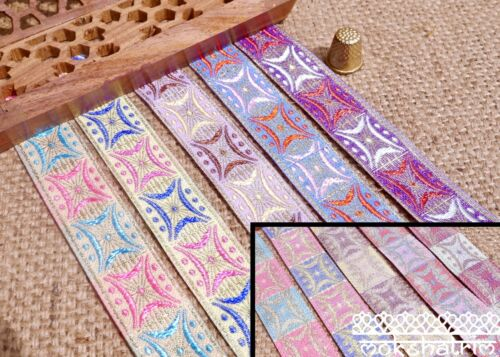 Traditional Indian Asian Star Pastel Geometric Jacquard Ribbon Trim MA132