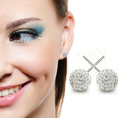 1 Pair Bling Rhinestone Bead Disco Clay Ball 925 Sterling Silver Stud Earring FS