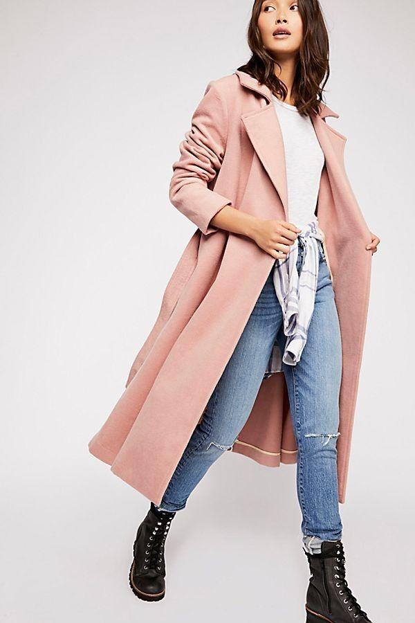 Free People Sierra Wool Coat Dusty Pink Small Belted Wool blend coat NEW