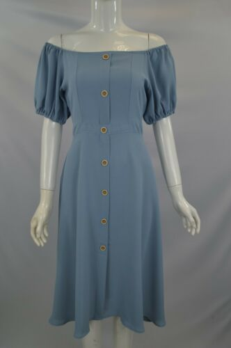 Women/'s Girl/'s Off Shoulder Front Buttons Midi Dress With Puff Sleeve In Blue