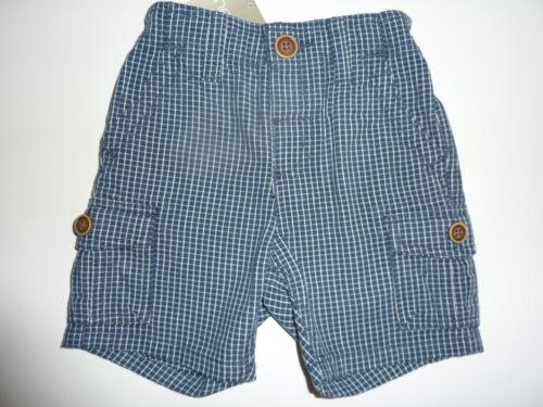 NEXT Gorgeous Little Boys Navy Checked Cargo Shorts NWT
