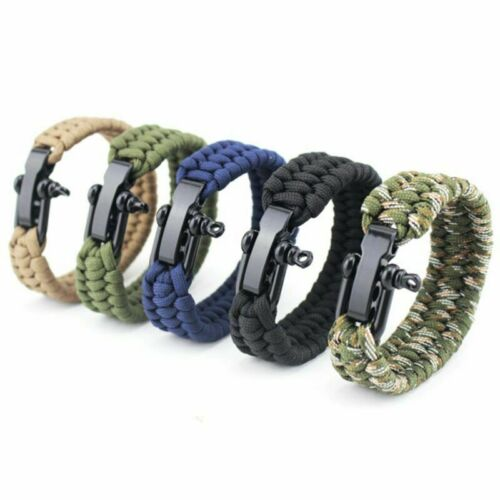 Hot Survival Rope Paracord Bracelet Outdoor Camping Hiking Steel Shackle Buckle