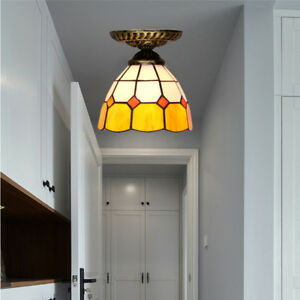 Details About Stained Glass Tiffany Style Iron Ceiling Lamp Led Home Kitchen Lighting Shade