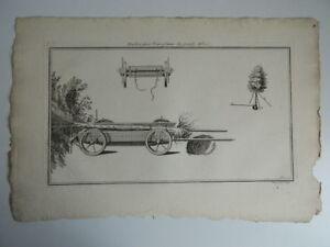 Grabado Máquinas Invenciones Transporter Grandes Árboles Galón Folio Siglo XVIII