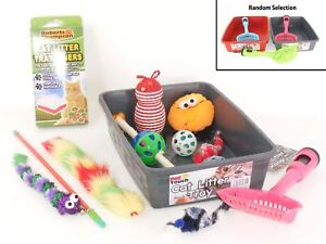 Cat-Litter-Tray-With-Scoop-Litter-Liner-Waste-Bags-and-Three-Random-Cat-Toys