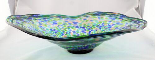 "New 22/"" Hand Blown Glass Art Bowl Blue Green Italian Oval Multicolor Decorative"