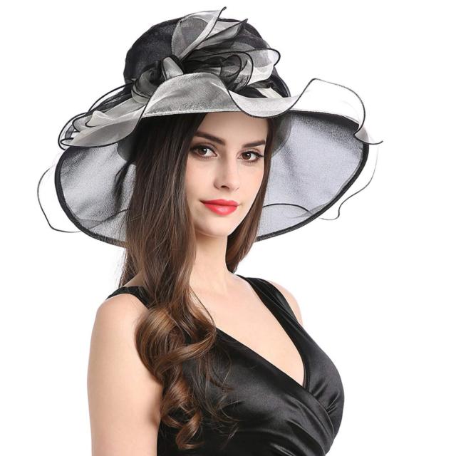d3ba27d64e1 Womens Elegant Organza Church Summer Wide Brim Kentucky Derby Fascinator Hat  Cap for sale online